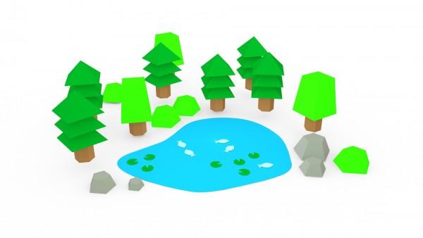 Das Dorf – Modell: Natur (3D-Bastelset aus Papier)