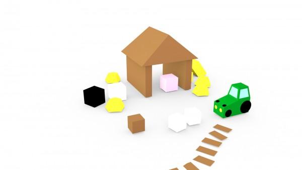 Das Dorf – Modell: Bauernhof (3D-Bastelset aus Papier)