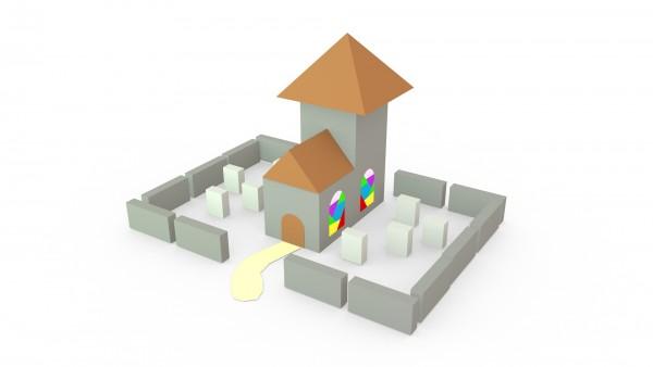 Das Dorf – Modell: Kirche (3D-Bastelset aus Papier)